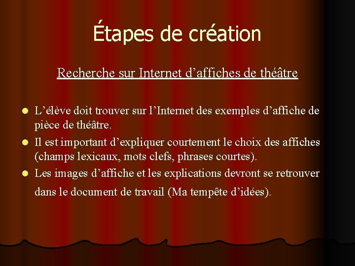 Étapes de création Recherche sur Internet d'affiches de théâtre L'élève doit trouver sur l'Internet