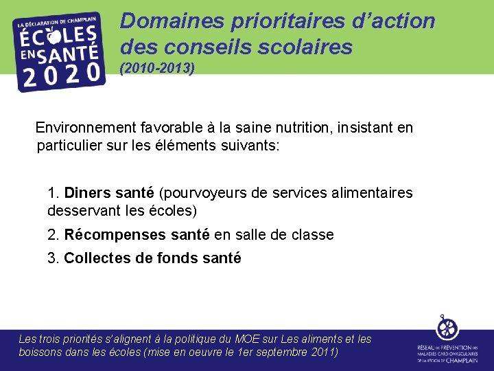 Domaines prioritaires d'action des conseils scolaires (2010 -2013) Environnement favorable à la saine nutrition,