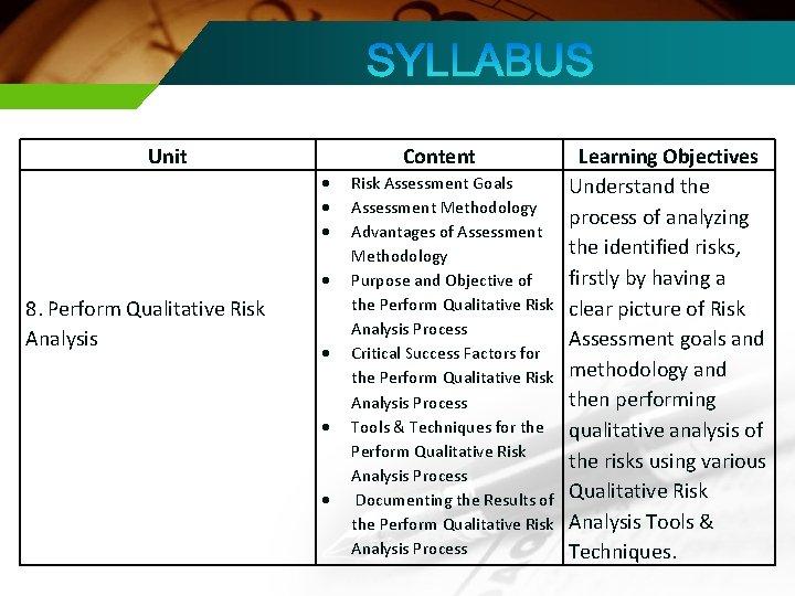Unit Content 8. Perform Qualitative Risk Analysis Risk Assessment Goals Assessment Methodology Advantages of