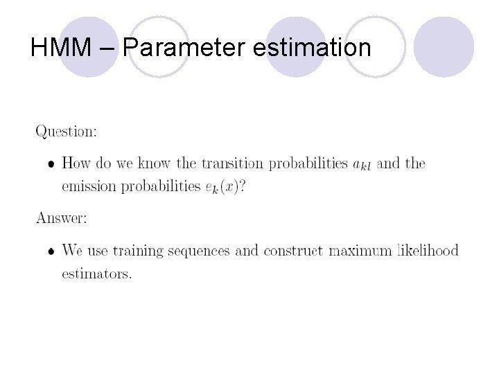 HMM – Parameter estimation