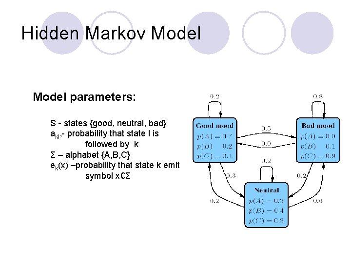 Hidden Markov Model parameters: S - states {good, neutral, bad} akl, - probability that