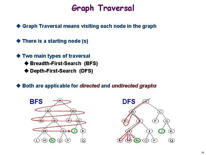 Graph Traversal u Graph Traversal means visiting each node in the graph u There