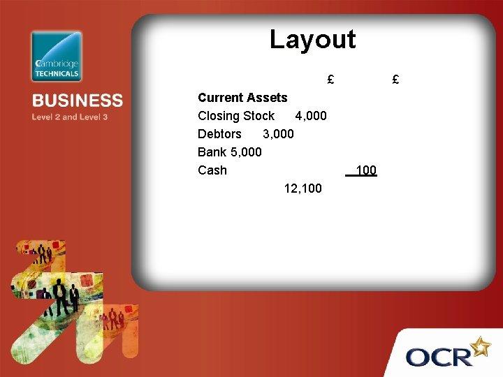 Layout £ Current Assets Closing Stock 4, 000 Debtors 3, 000 Bank 5, 000
