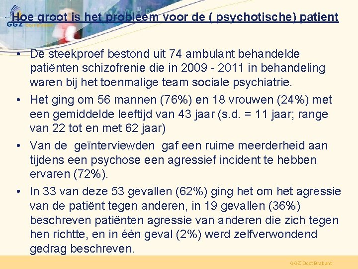 Hoe groot is het probleem voor de ( psychotische) patient • De steekproef bestond