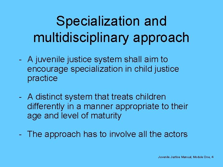 Specialization and multidisciplinary approach - A juvenile justice system shall aim to encourage specialization