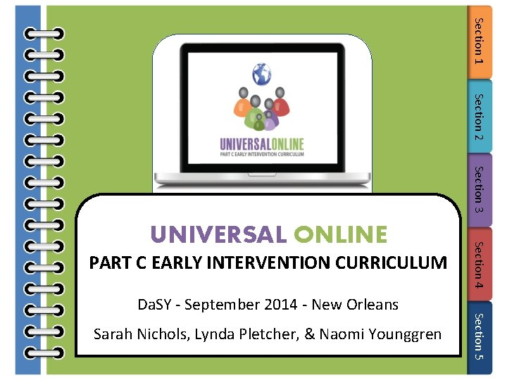 Section 1 Section 2 Section 3 PART C EARLY INTERVENTION CURRICULUM Sarah Nichols, Lynda