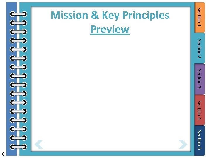Section 2 Section 3 Section 4 Section 5 6 Section 1 Mission & Key