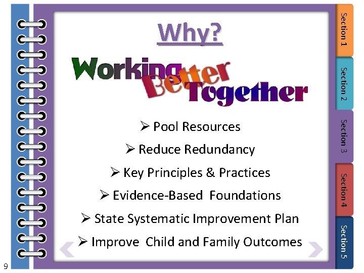Section 1 Why? Section 2 Ø Reduce Redundancy Ø Evidence-Based Foundations Ø Improve Child