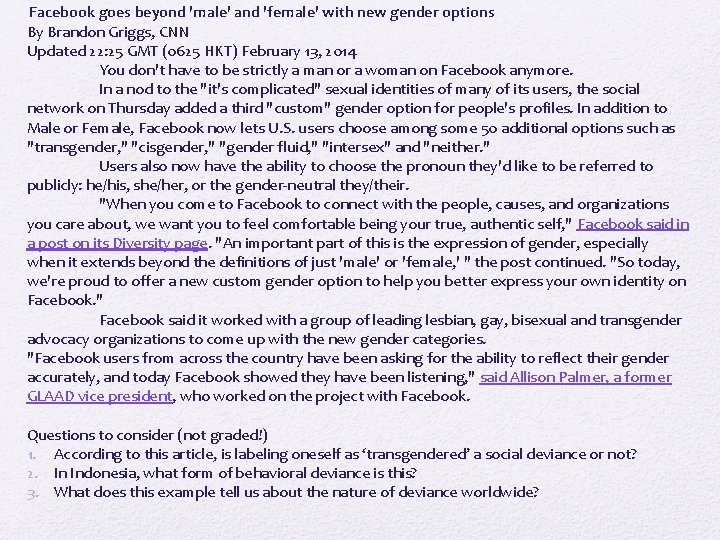 Facebook goes beyond 'male' and 'female' with new gender options By Brandon Griggs,