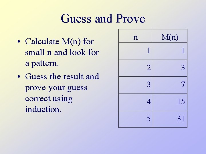 Guess and Prove • Calculate M(n) for small n and look for a pattern.