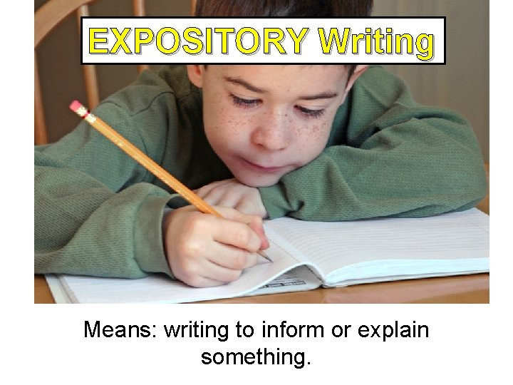 EXPOSITORY Writing Expository Writing Means: writing to inform or explain something.