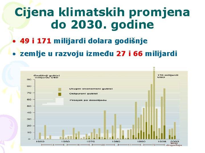Cijena klimatskih promjena do 2030. godine • 49 i 171 milijardi dolara godišnje •