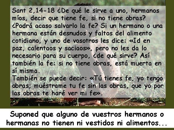Sant 2, 14 -18 ¿De qué le sirve a uno, hermanos míos, decir que