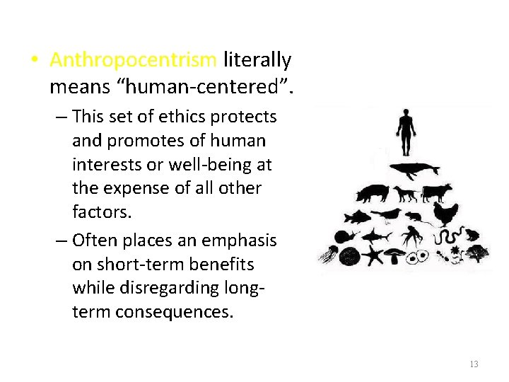 """• Anthropocentrism literally means """"human-centered"""". – This set of ethics protects and promotes"""