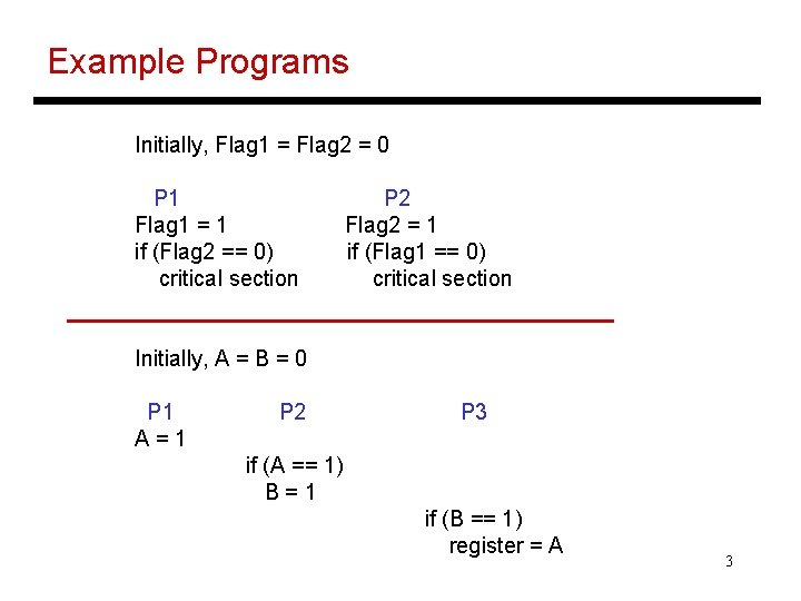 Example Programs Initially, Flag 1 = Flag 2 = 0 P 1 Flag 1