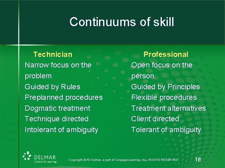 Continuums of skill Technician Narrow focus on the problem Guided by Rules Preplanned procedures