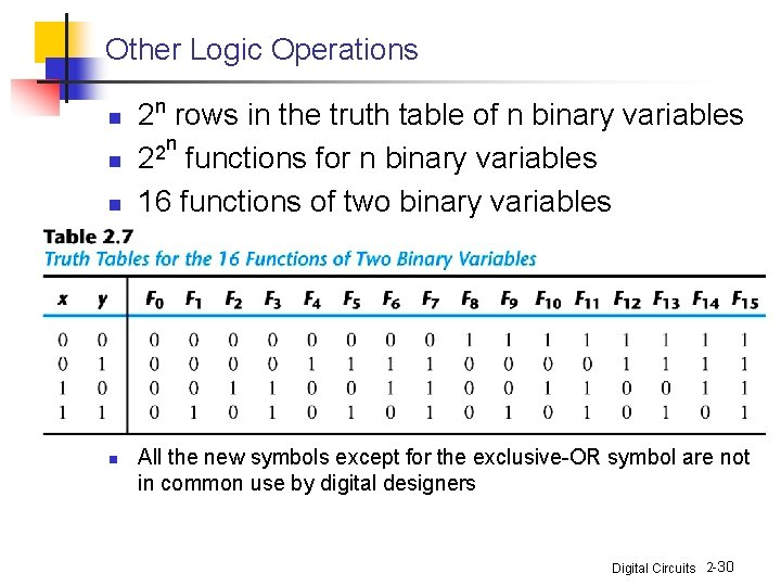 Other Logic Operations n n 2 n rows in the truth table of n