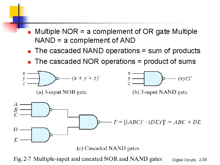 n n n Multiple NOR = a complement of OR gate Multiple NAND =