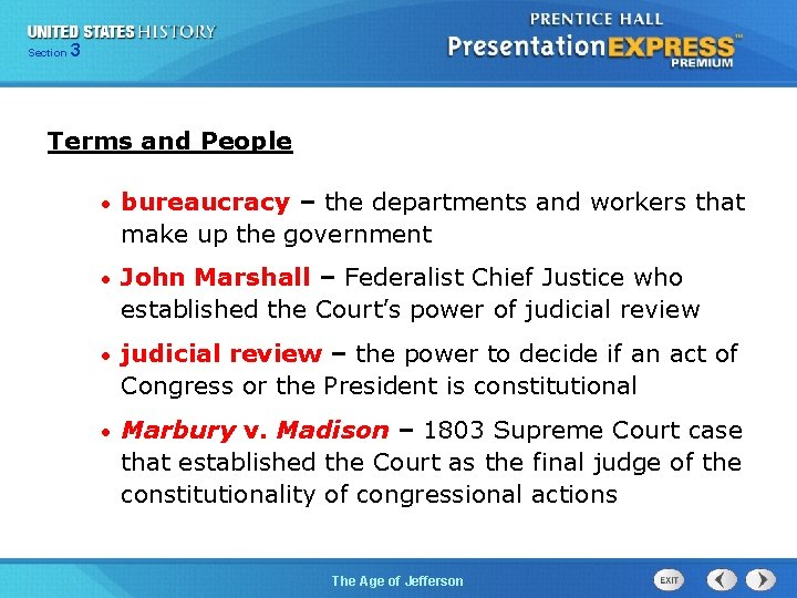 325 Section Chapter Section 1 Terms and People • bureaucracy – the departments and