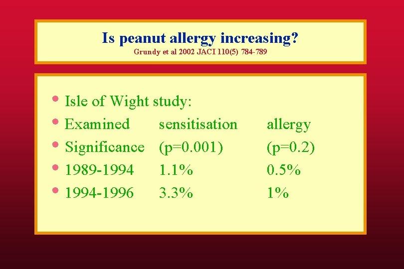 Is peanut allergy increasing? Grundy et al 2002 JACI 110(5) 784 -789 • Isle