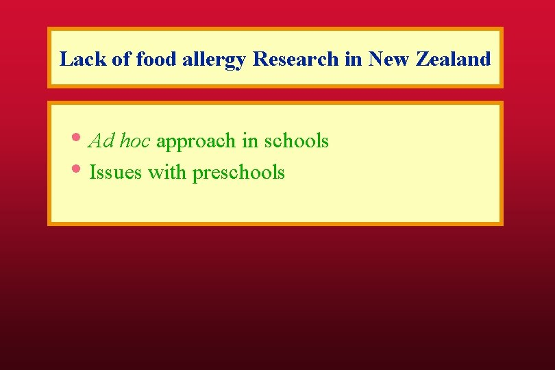 Lack of food allergy Research in New Zealand • Ad hoc approach in schools