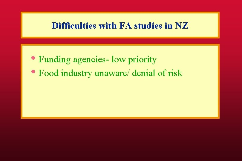 Difficulties with FA studies in NZ • Funding agencies- low priority • Food industry