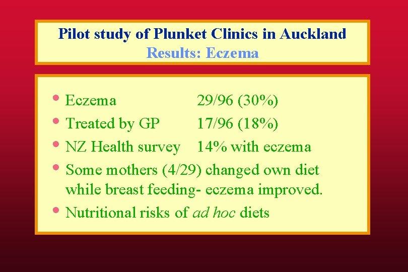 Pilot study of Plunket Clinics in Auckland Results: Eczema • Eczema 29/96 (30%) •