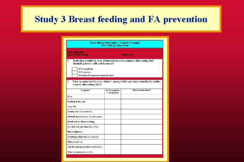 Study 3 Breast feeding and FA prevention