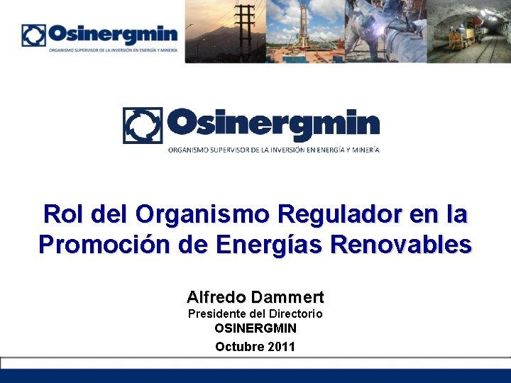 Rol del Organismo Regulador en la Promoción de Energías Renovables Alfredo Dammert Presidente del