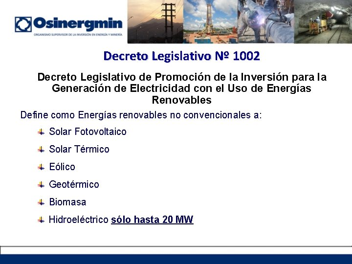 Decreto Legislativo Nº 1002 Decreto Legislativo de Promoción de la Inversión para la Generación