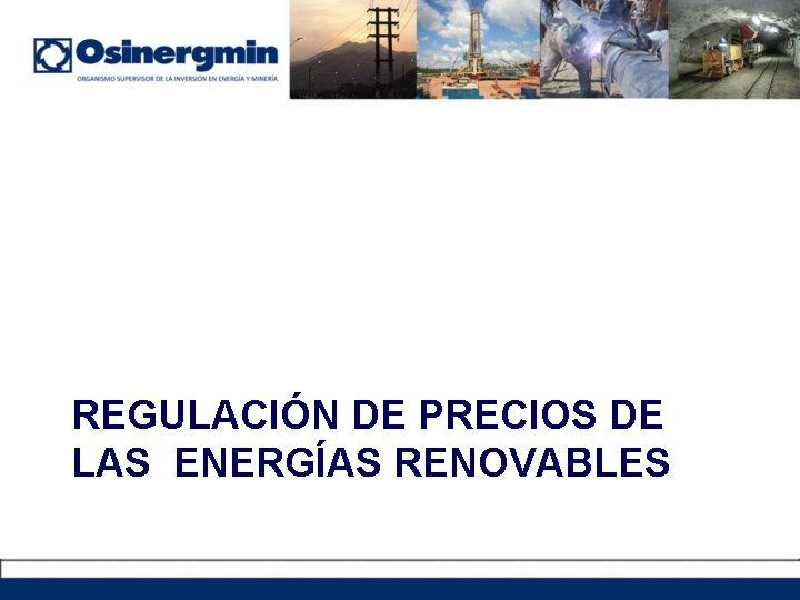 REGULACIÓN DE PRECIOS DE LAS ENERGÍAS RENOVABLES