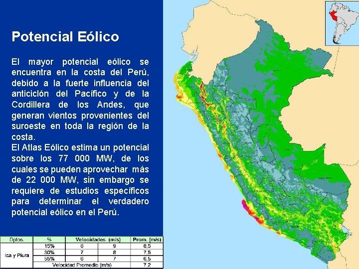 Potencial Eólico El mayor potencial eólico se encuentra en la costa del Perú, debido