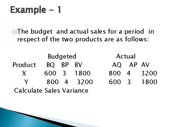 Example - 1 � The budget and actual sales for a period in respect