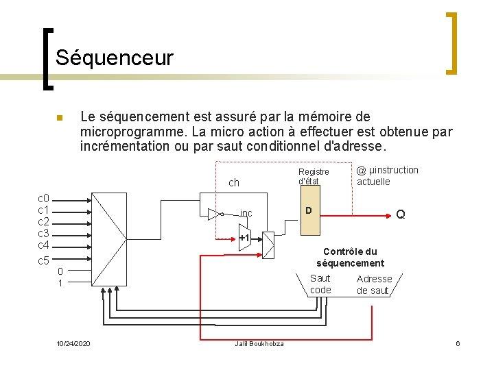Séquenceur n Le séquencement est assuré par la mémoire de microprogramme. La micro action