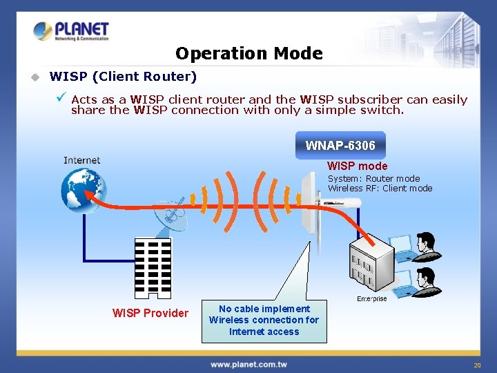 Operation Mode u WISP (Client Router) ü Acts as a WISP client router and