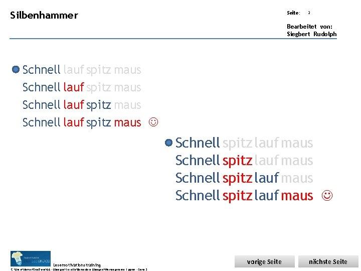 Übungsart: Silbenhammer Seite: 2 Bearbeitet von: Siegbert Rudolph Schnell lauf spitz maus J Schnell