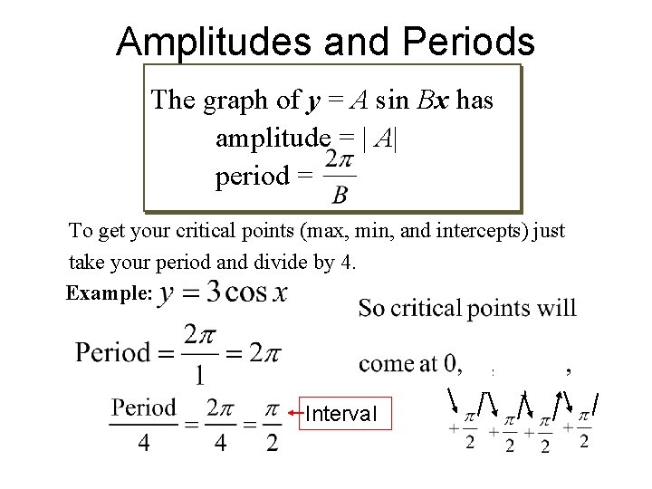 Amplitudes and Periods The graph of y = A sin Bx has amplitude =