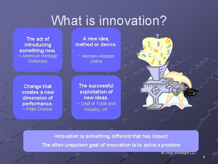 What is innovation? The act of introducing something new. A new idea, method or