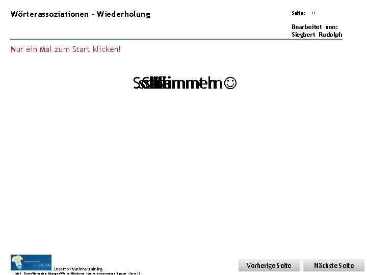 Übungsart: Wörterassoziationen - Wiederholung Seite: 11 Bearbeitet von: Siegbert Rudolph Nur ein Mal zum
