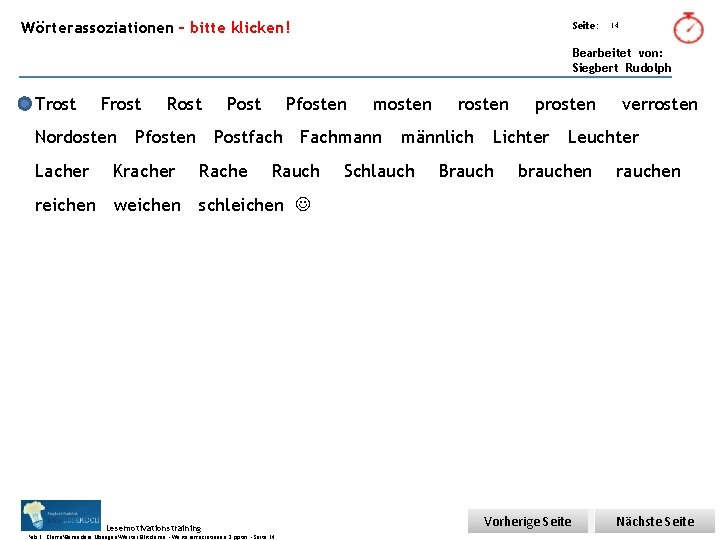 Übungsart: Wörterassoziationen – bitte klicken! Seite: 14 Bearbeitet von: Siegbert Rudolph Trost Frost Nordosten
