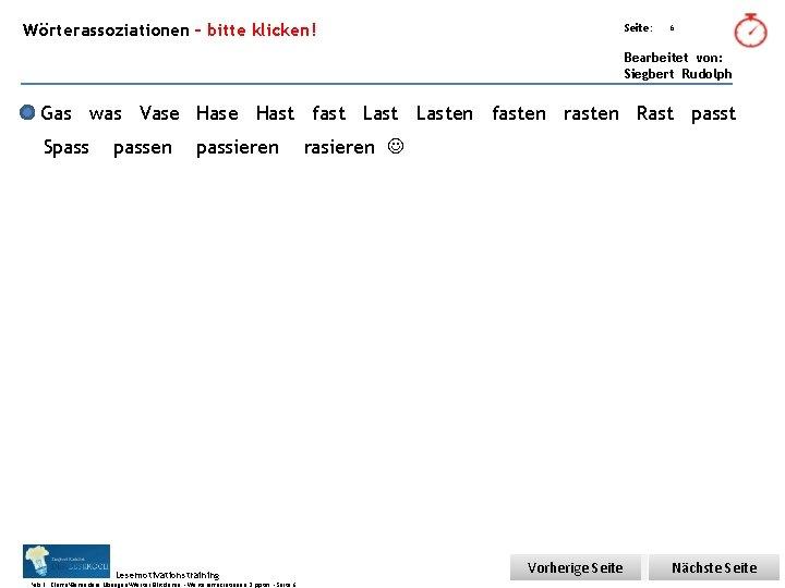 Übungsart: Wörterassoziationen – bitte klicken! Seite: 6 Bearbeitet von: Siegbert Rudolph Gas was Vase