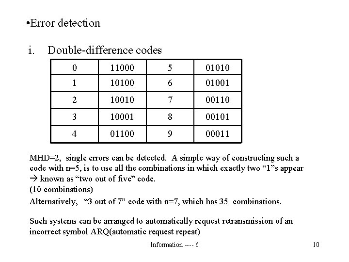 • Error detection i. Double-difference codes 0 11000 5 01010 1 10100 6