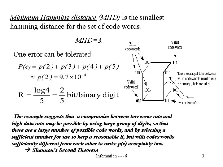 Minimum Hamming distance (MHD) is the smallest hamming distance for the set of code