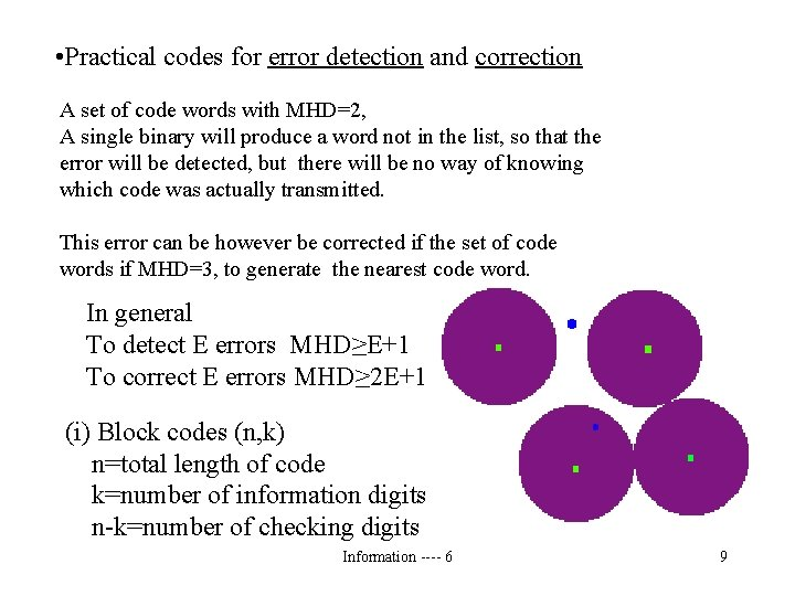 • Practical codes for error detection and correction A set of code words