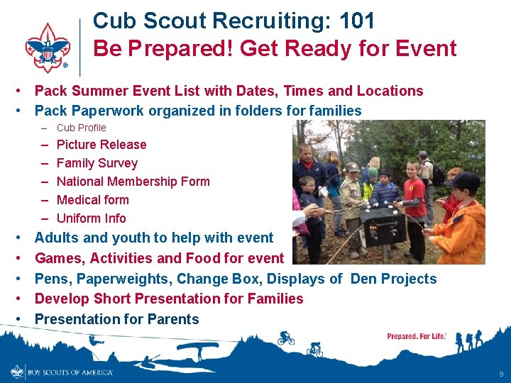 Cub Scout Recruiting: 101 Be Prepared! Get Ready for Event • Pack Summer Event