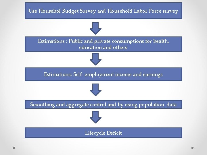Use Househol Budget Survey and Household Labor Force survey Estimations : Public and private