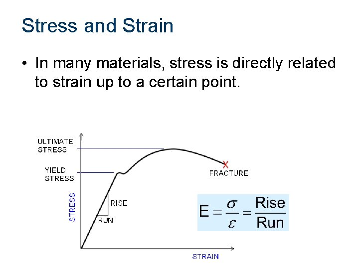 Stress and Strain • In many materials, stress is directly related to strain up
