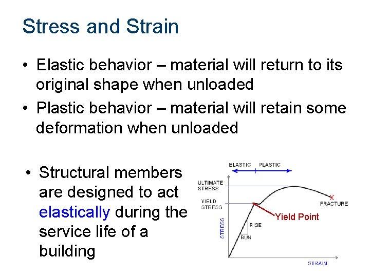 Stress and Strain • Elastic behavior – material will return to its original shape