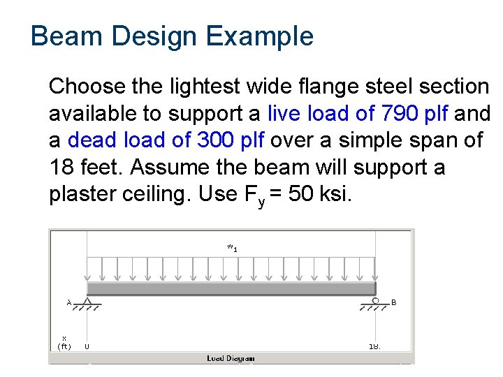 Beam Design Example Choose the lightest wide flange steel section available to support a