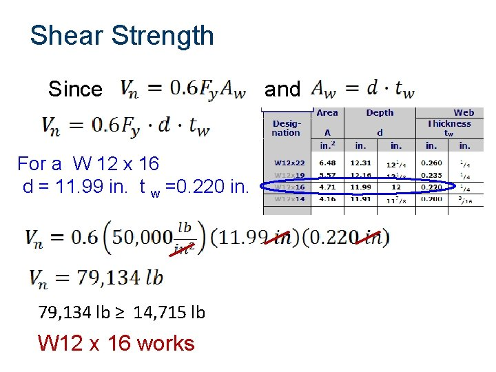 Shear Strength Since and For a W 12 x 16 d = 11.